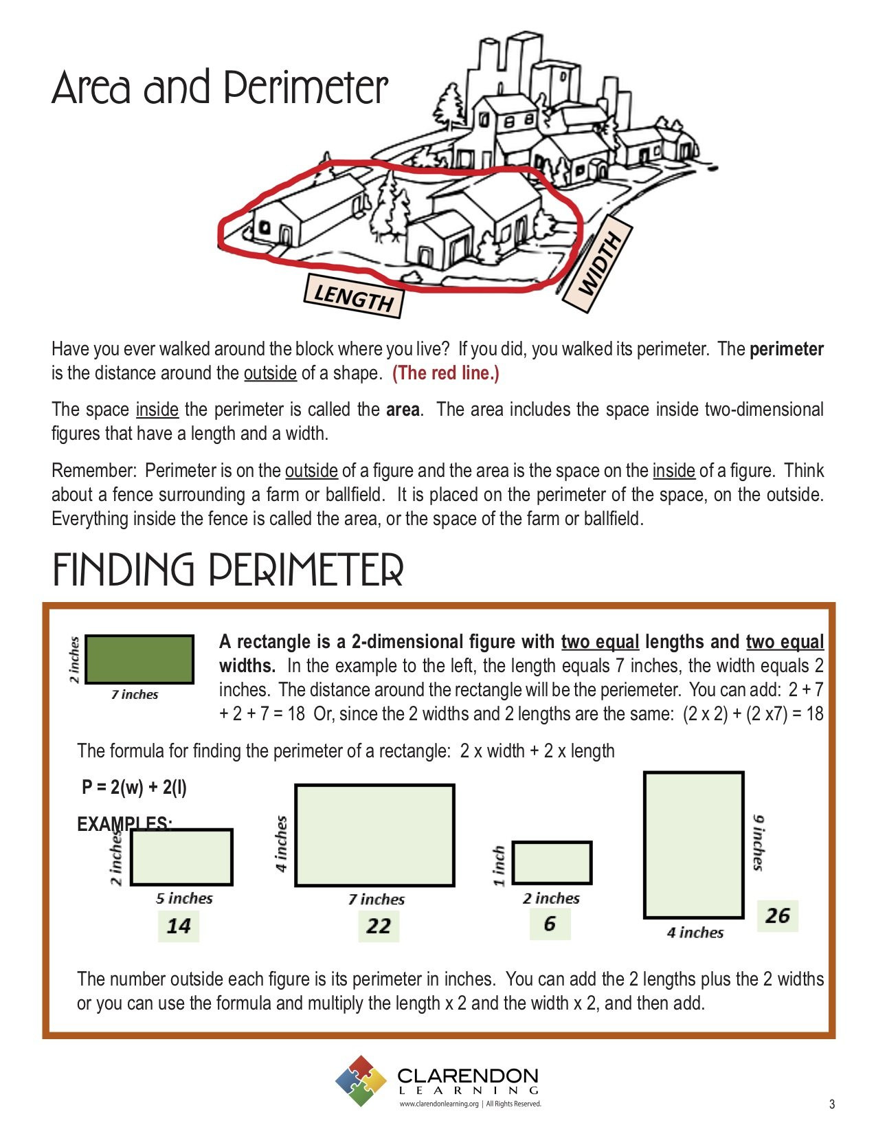 Printable area and Perimeter Worksheets