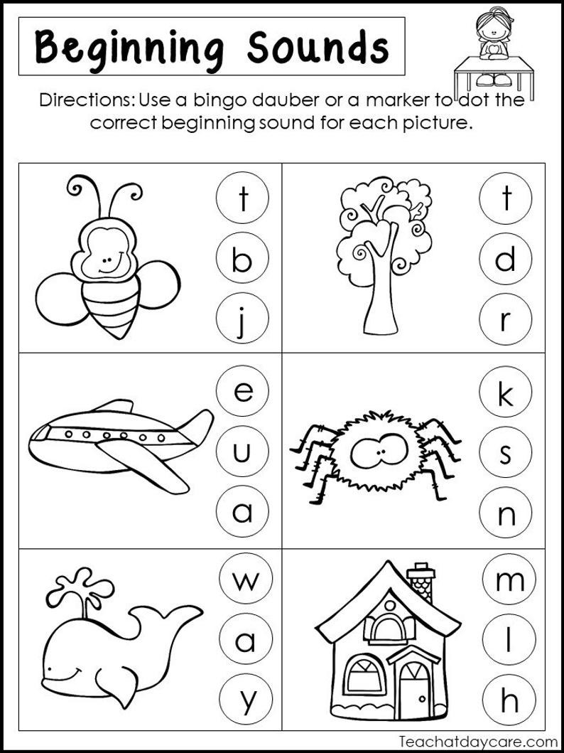 Printable Beginning sounds Worksheets