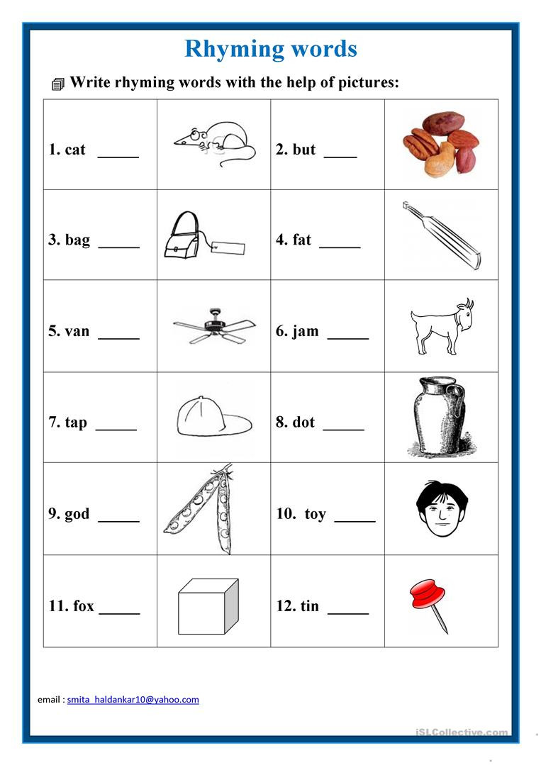 Rhyme Worksheets for Kindergarten