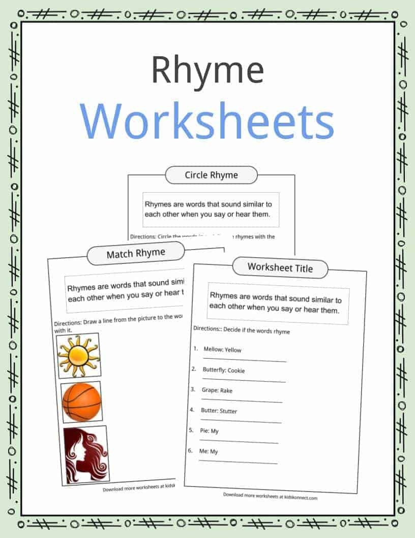 Rhyming Words Kindergarten Worksheets