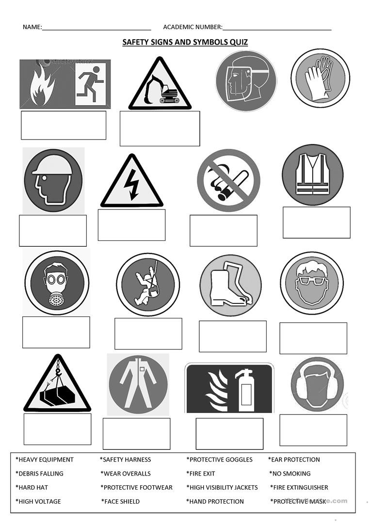 Safety Worksheets Printable