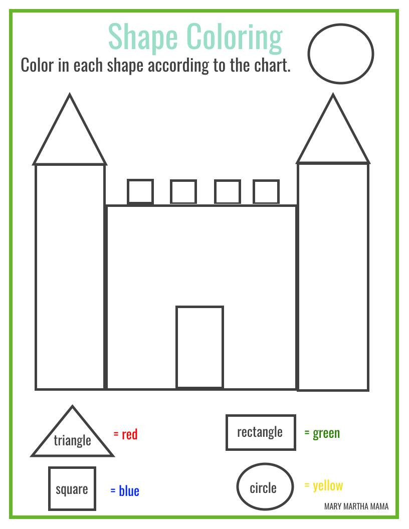 Shapes for Kindergarten Worksheets