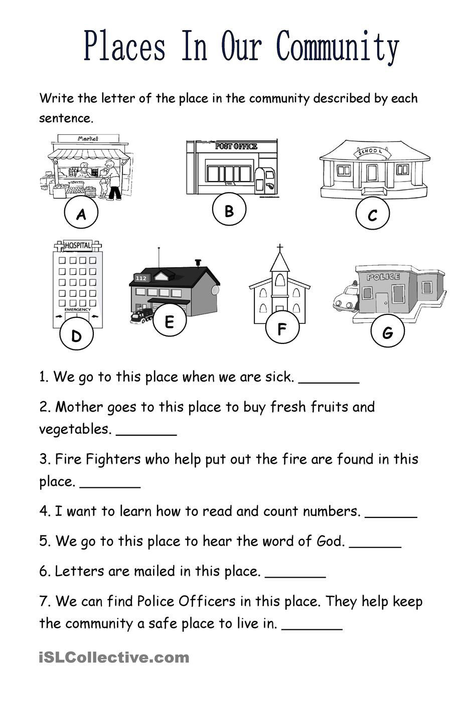 Social Studies Kindergarten Worksheets