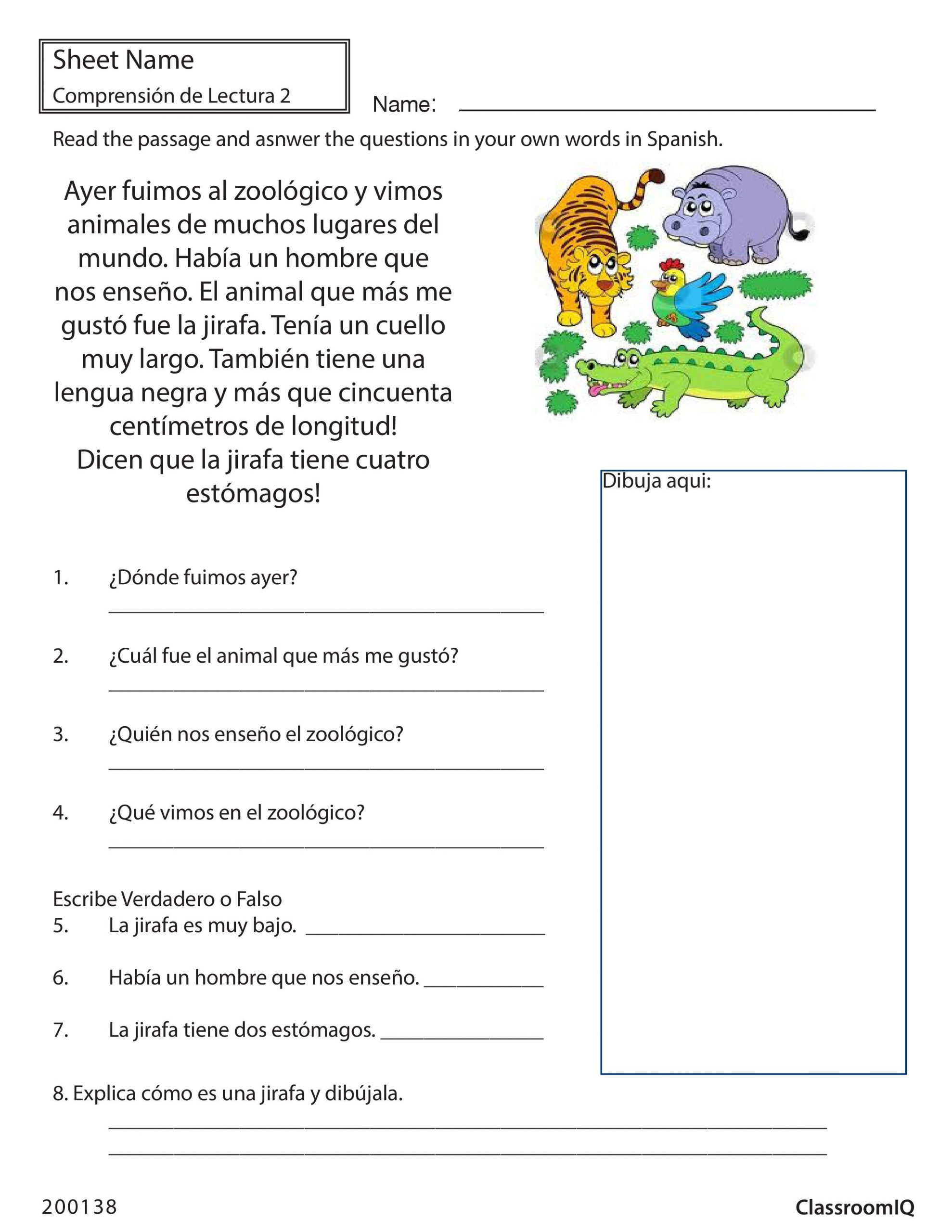 Spanish Commands Worksheet Printable