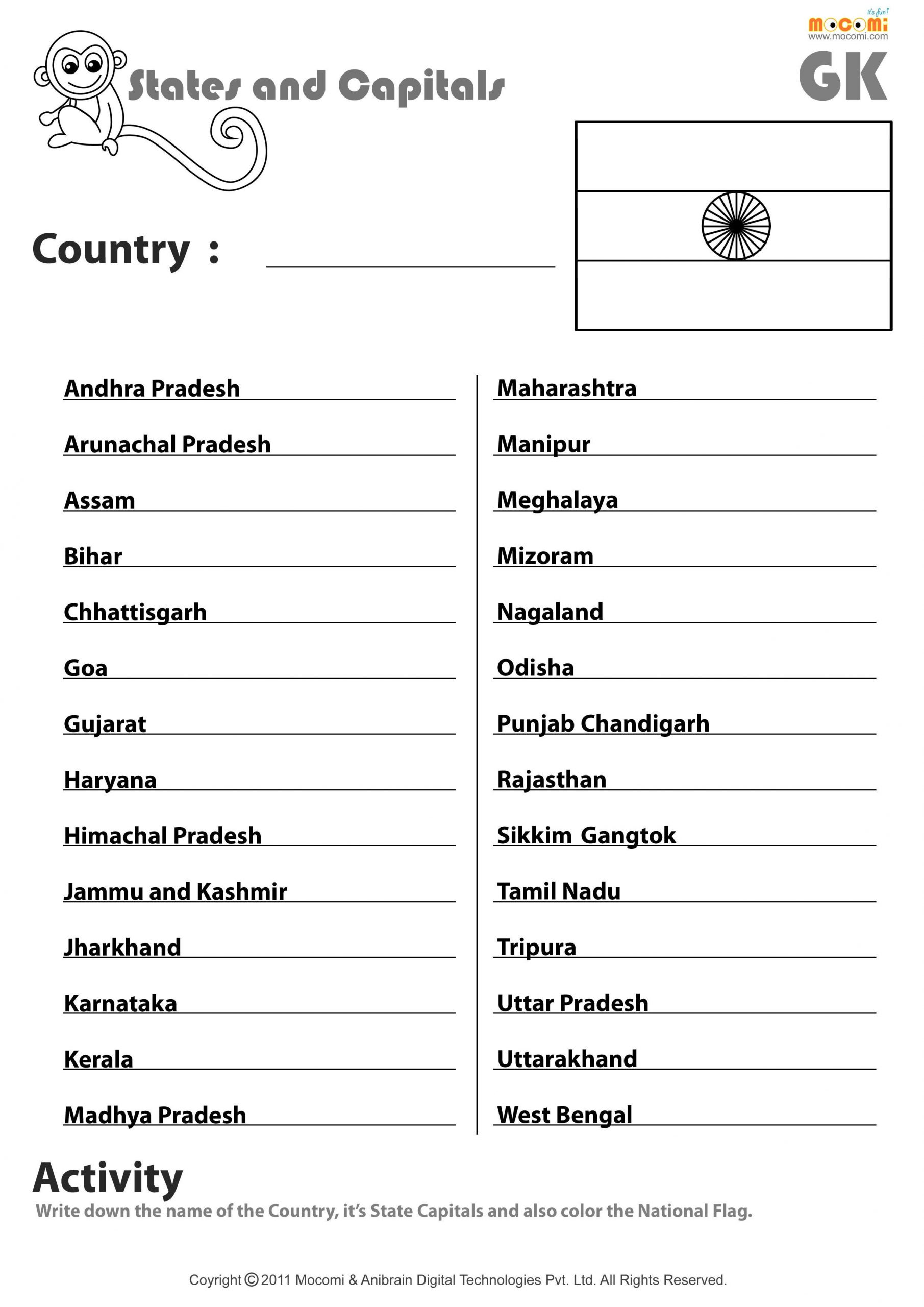 Indian States And Their Capitals English Worksheets for