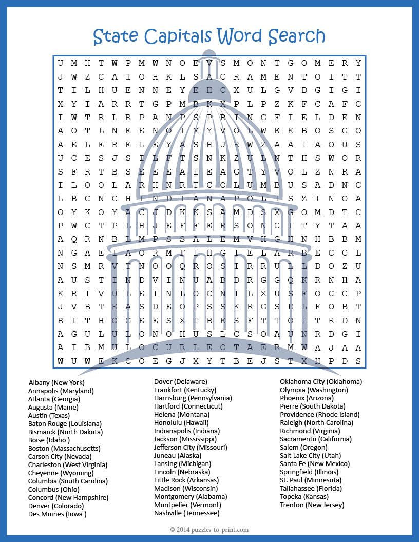 States and Capitals Worksheet Printable