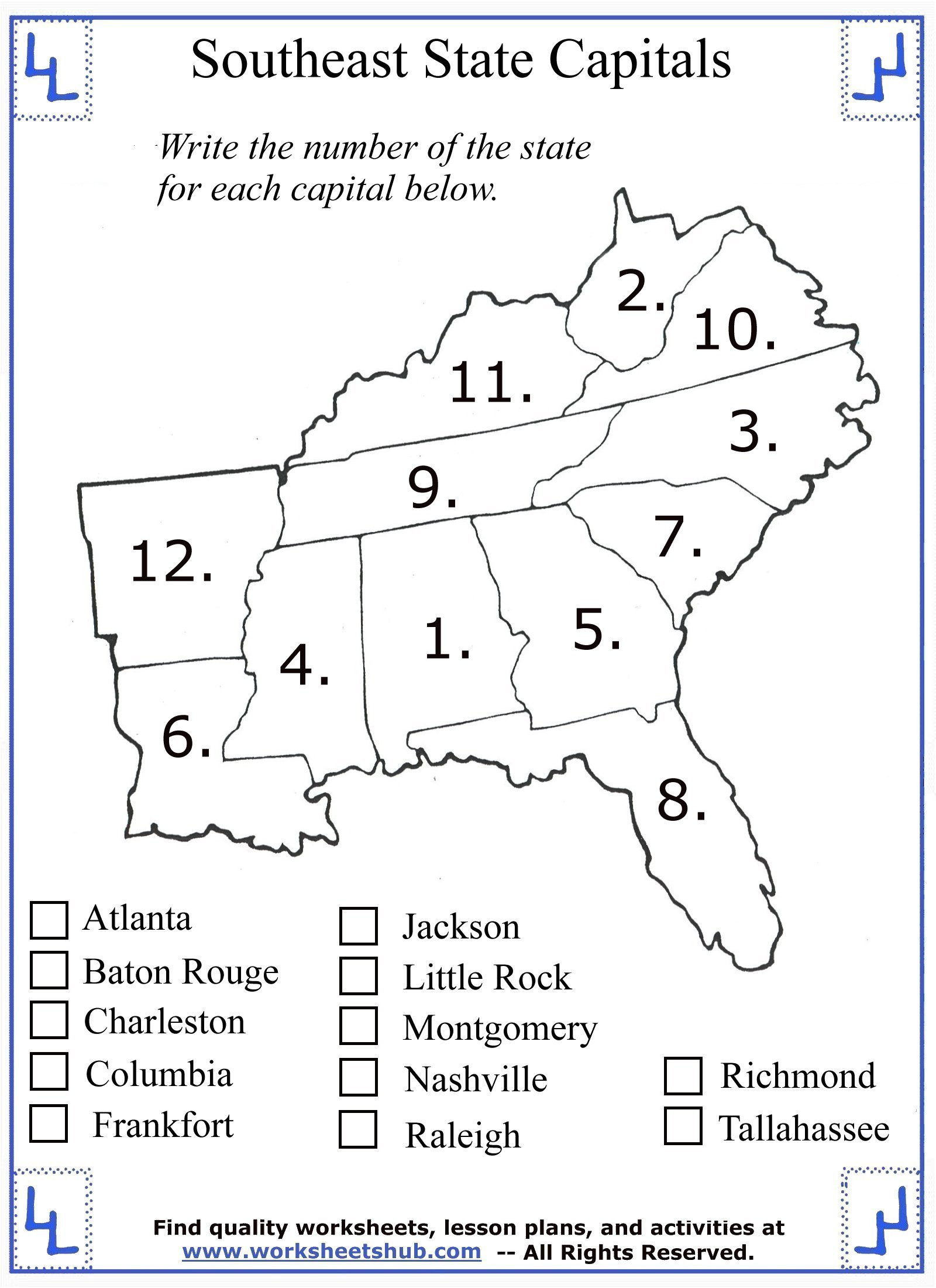 States and Capitals Worksheets Printable