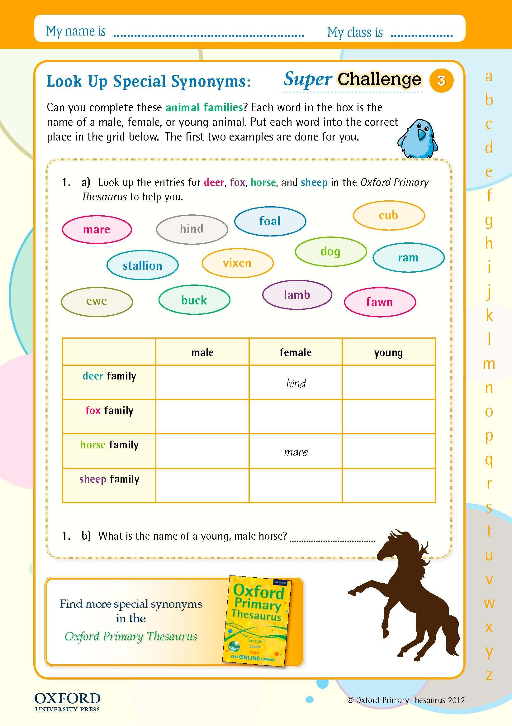Synonyms Worksheet for Kindergarten
