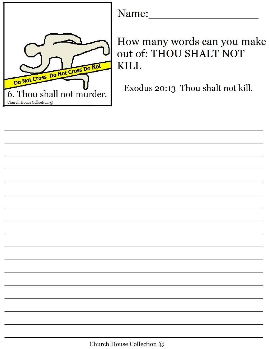 Ten Commandments Printable Worksheets