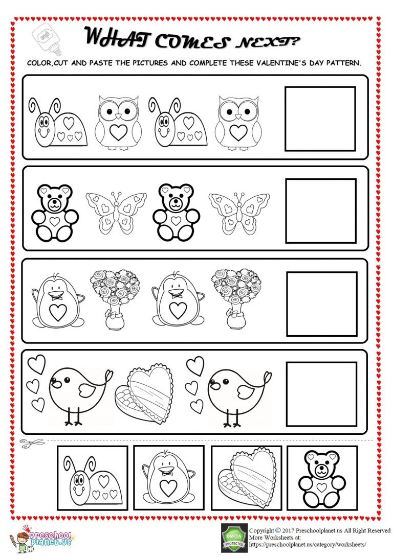Valentine Math Worksheets for Kindergarten