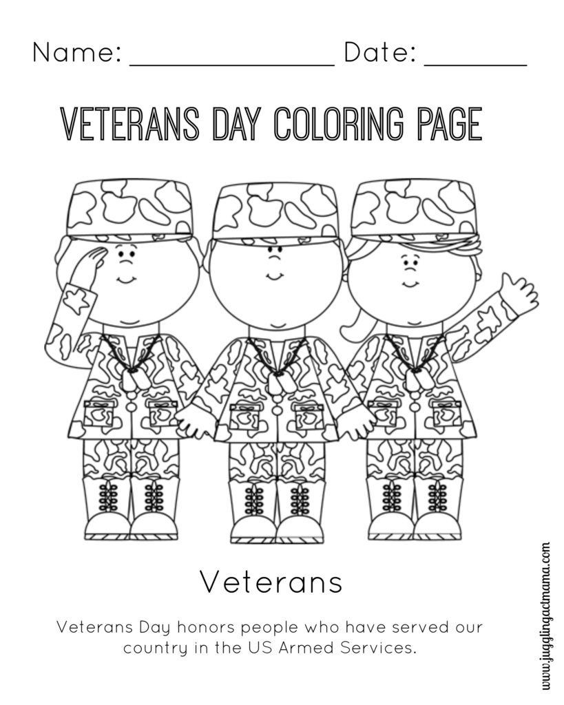 Veteran s Day Printable Coloring Page