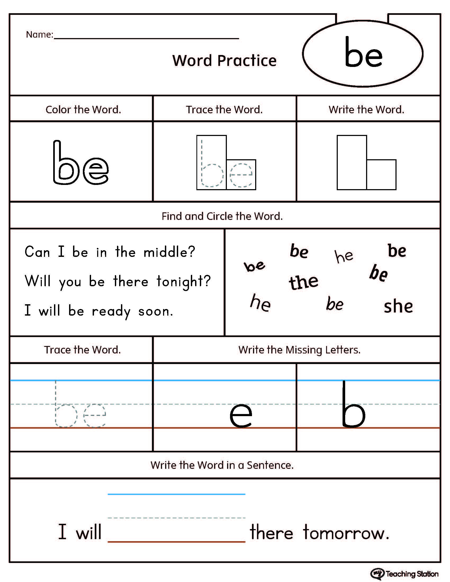 Words Worksheet for Kindergarten