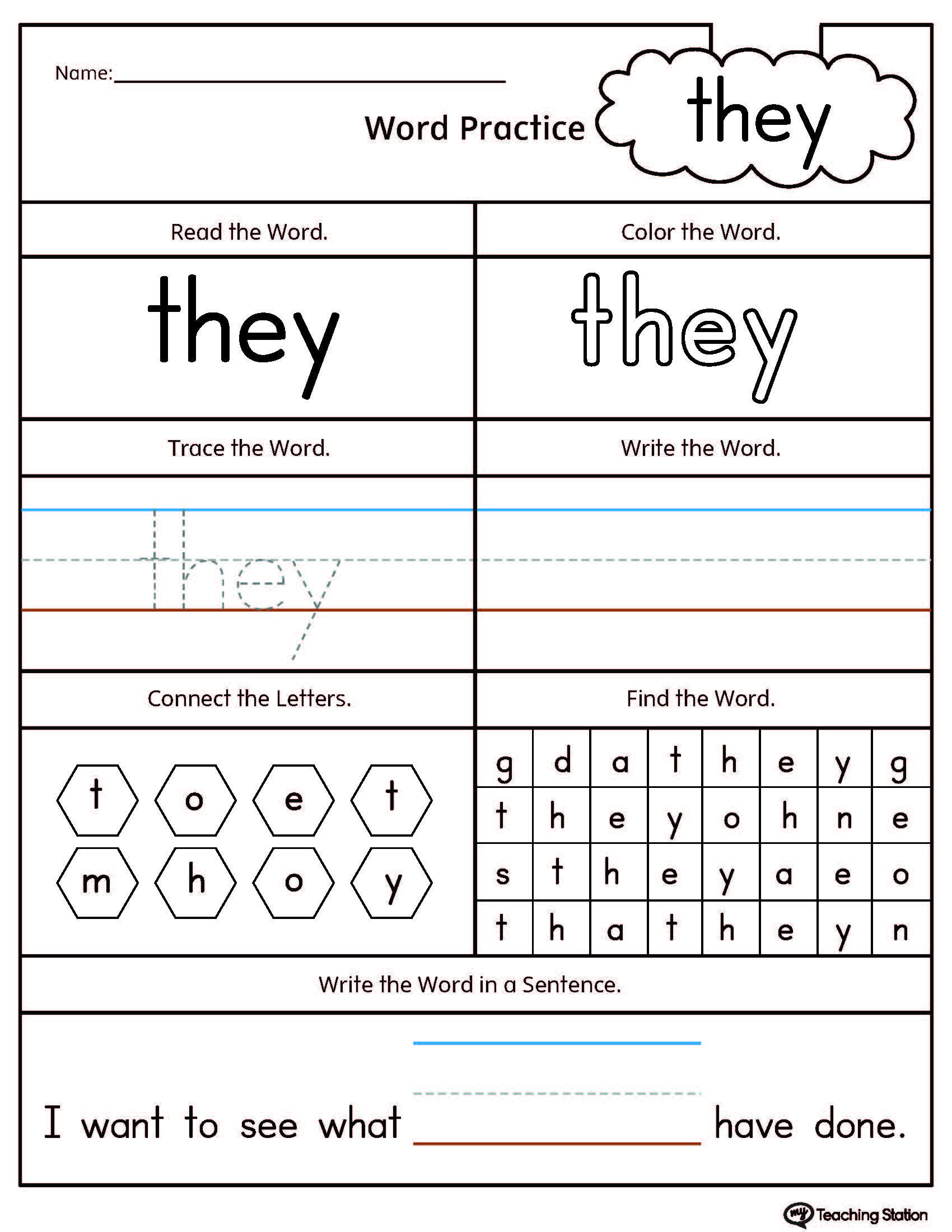 Words Worksheets for Kindergarten