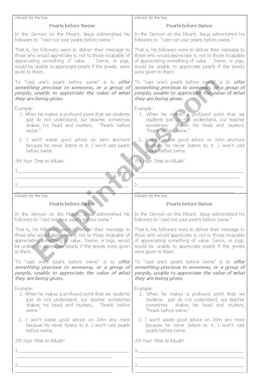 Allusion Worksheet High School