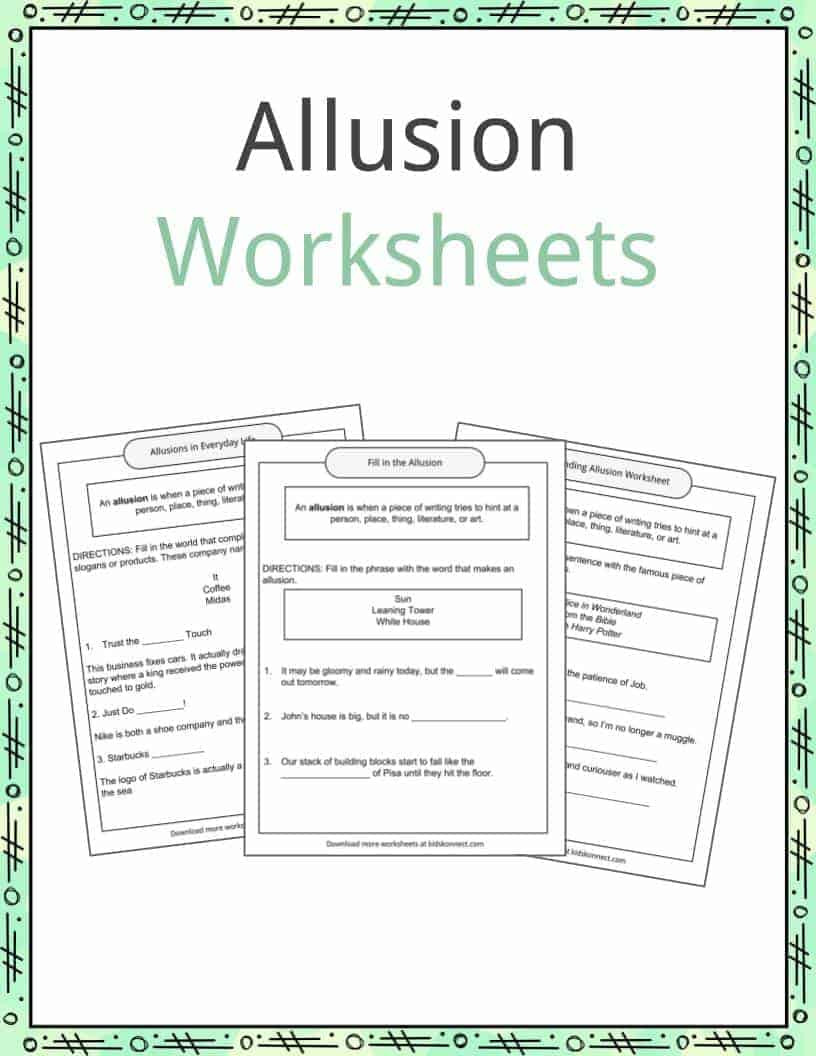 Allusion Examples Definition and Worksheets