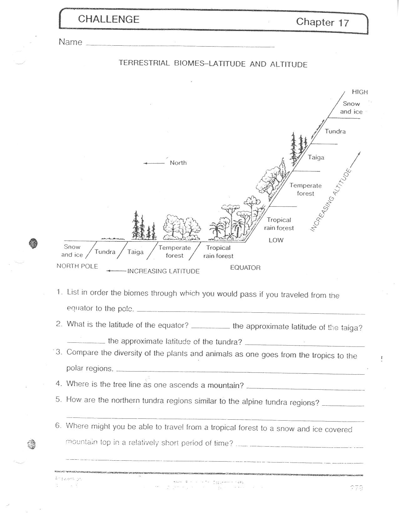 Biomes At A Glance Worksheet Answers