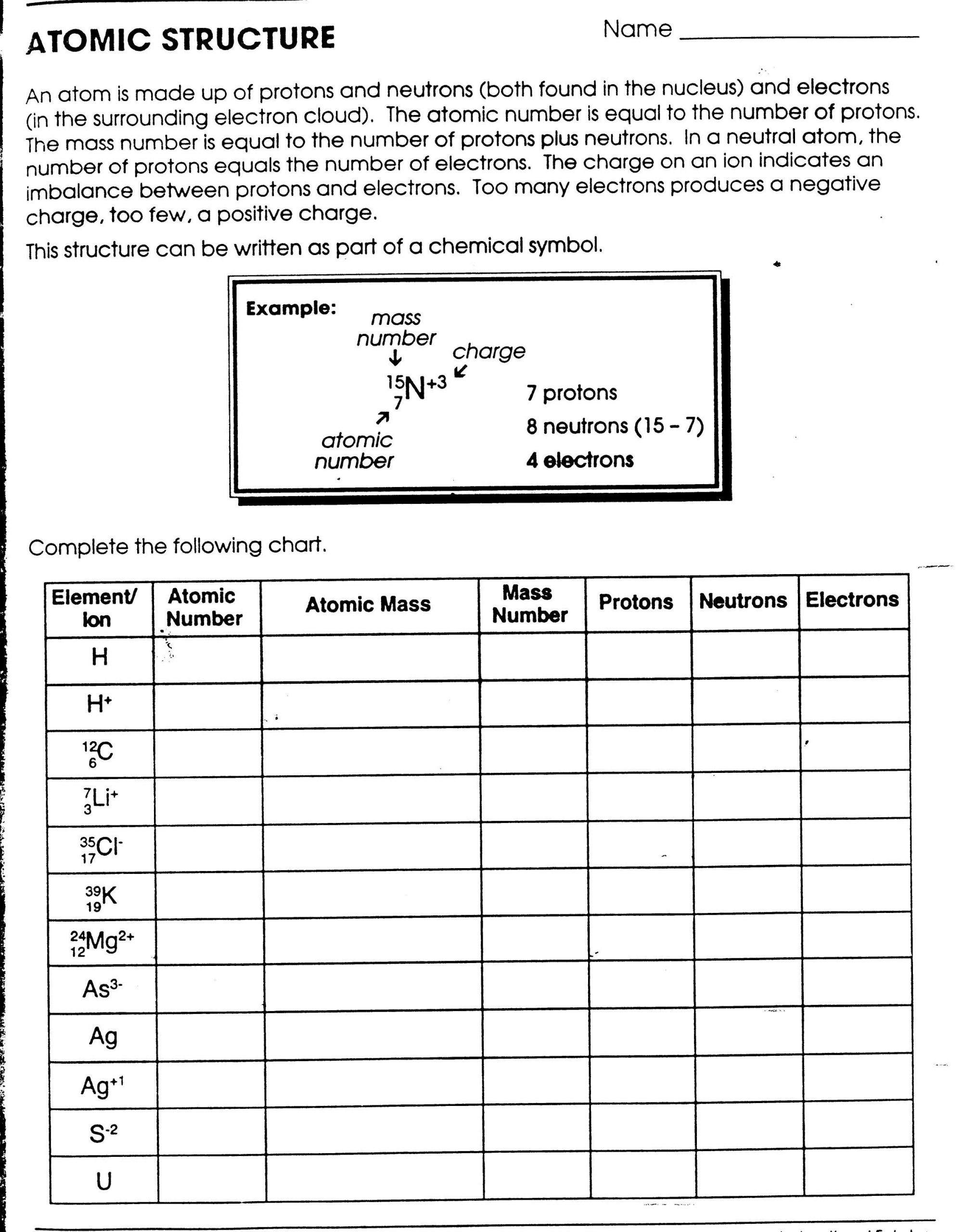 Atomic Mass and Number Worksheet