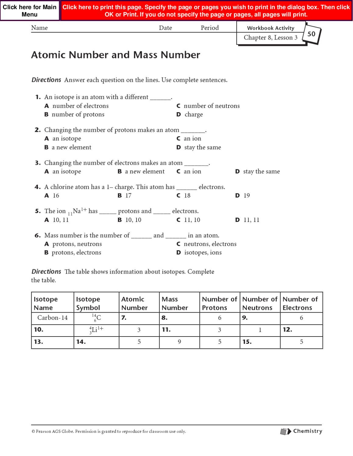 Atomic Number Worksheet Answers