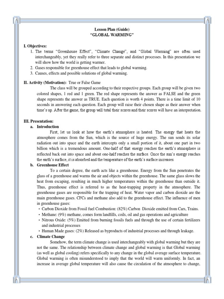 Climate Change Worksheet High School