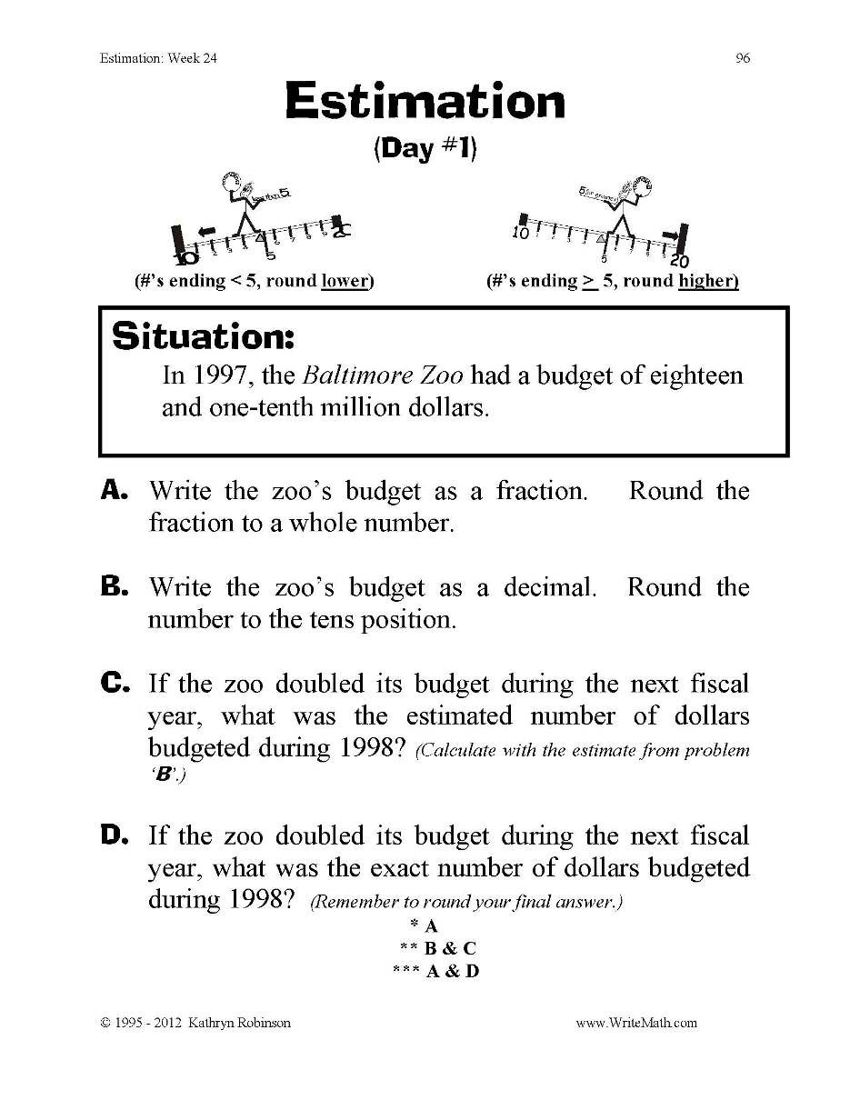 Estimating Numbers Worksheets