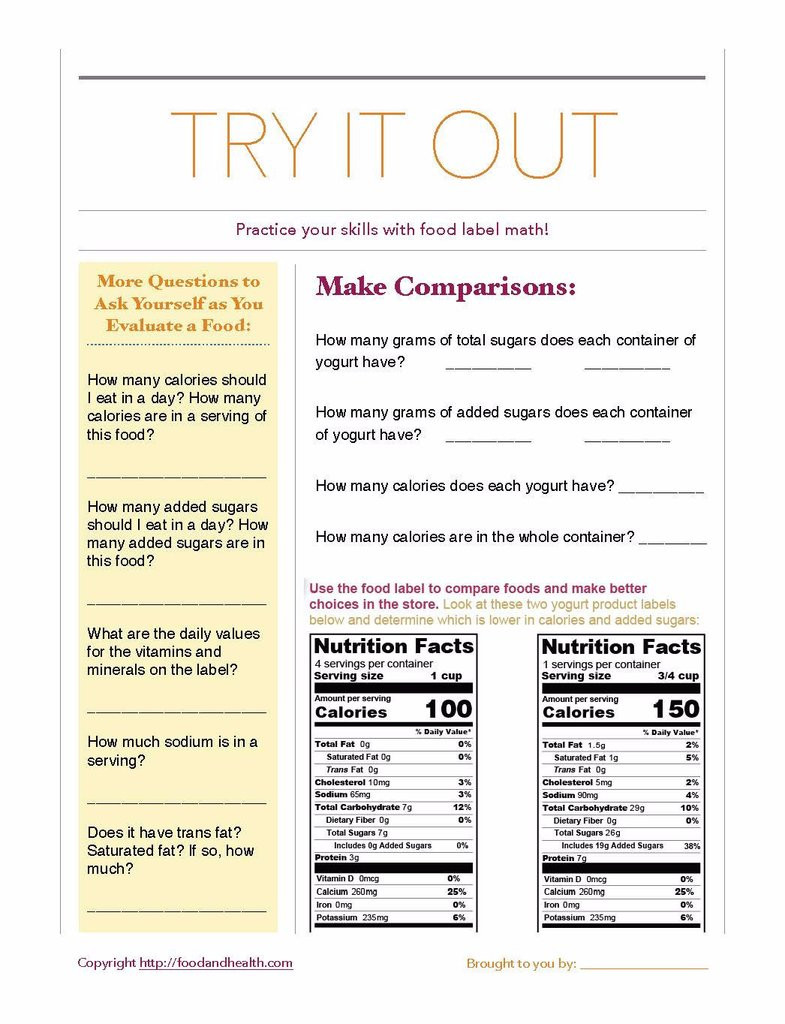 Food Label Worksheet High School