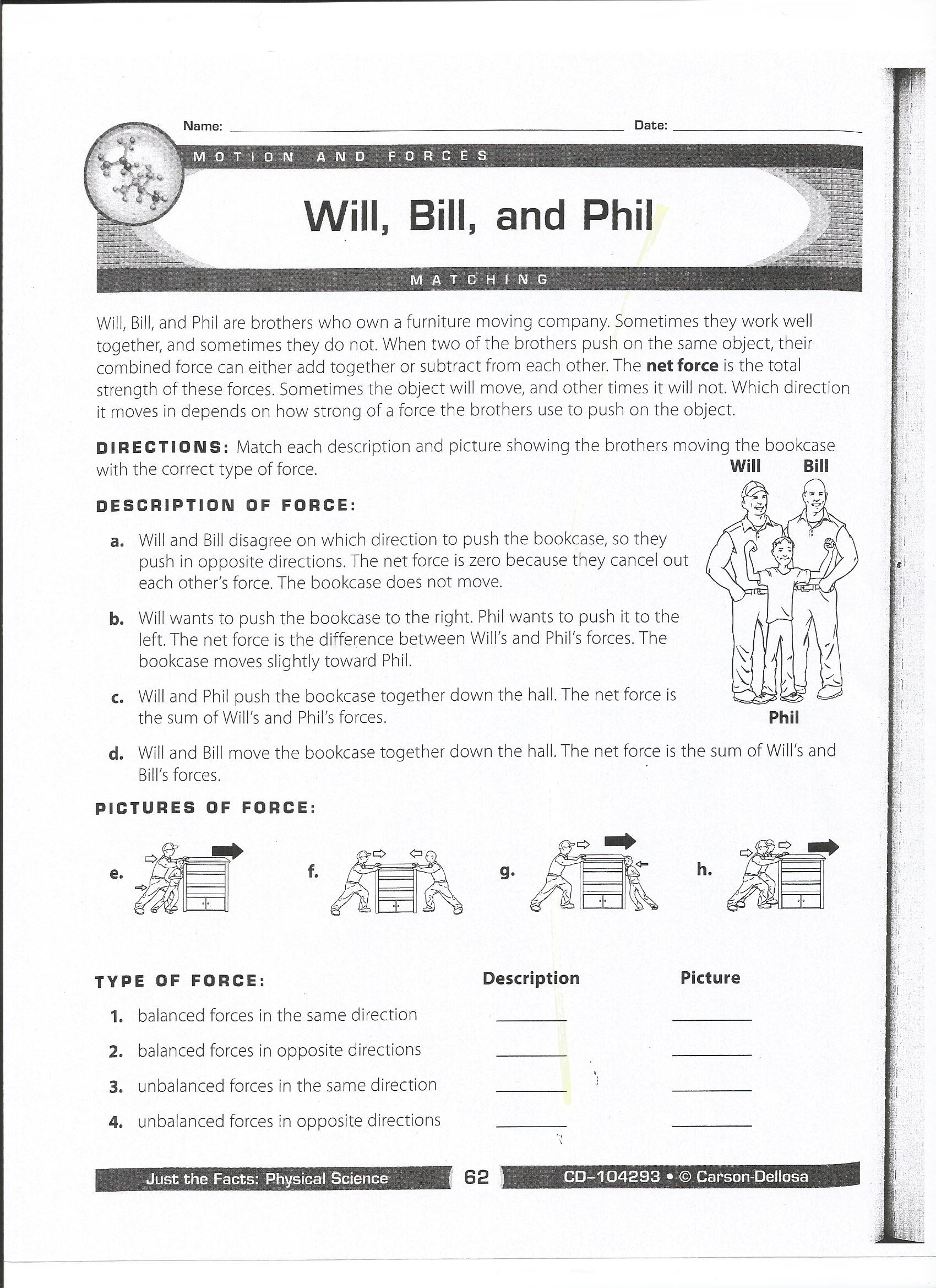 Force and Motion Printable Worksheets