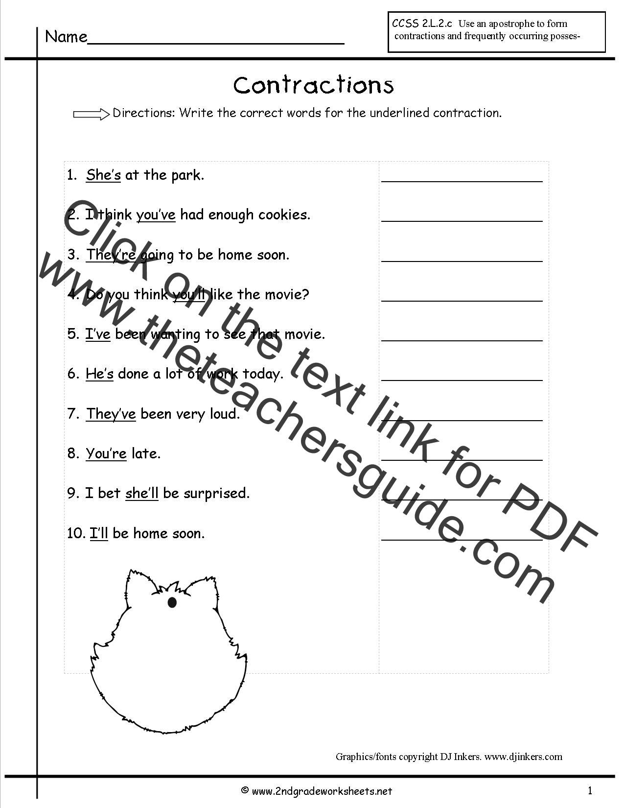 Free Printable Contraction Worksheets
