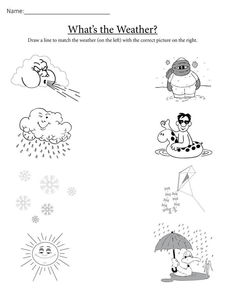 """""""What s the Weather """" Printable Matching Worksheet"""