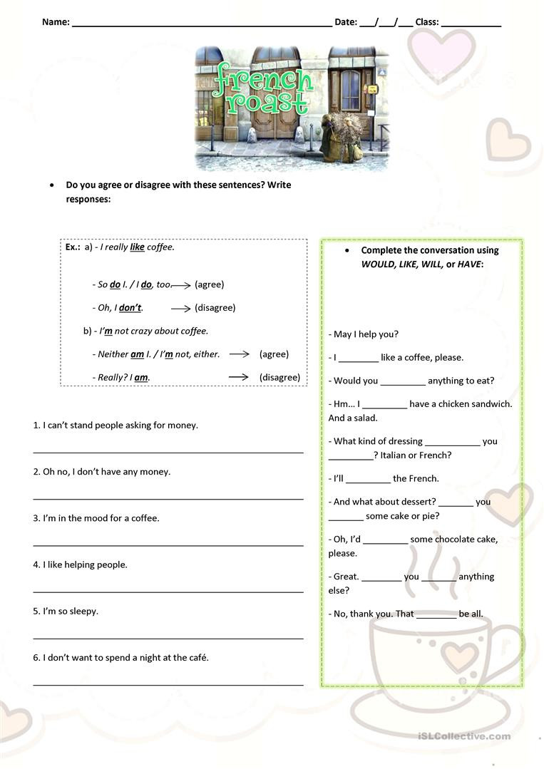 French Worksheets for High School