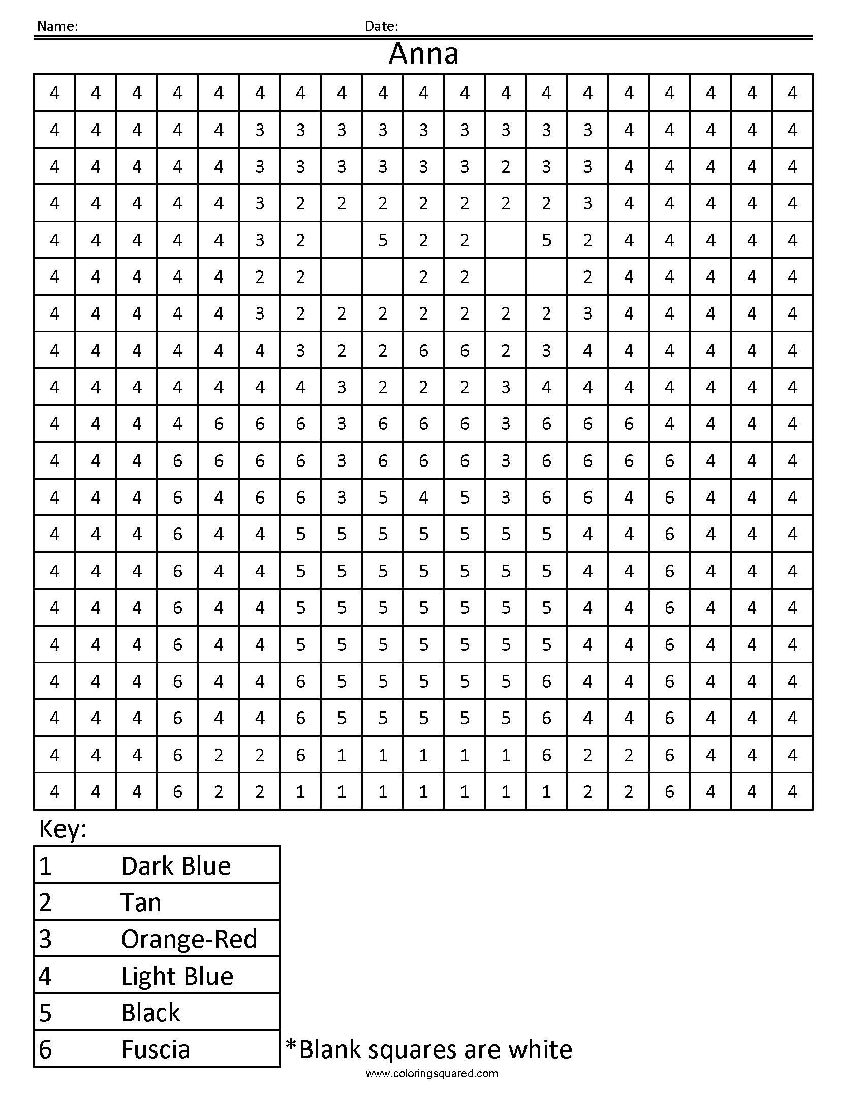 Hard Color by Number Worksheets
