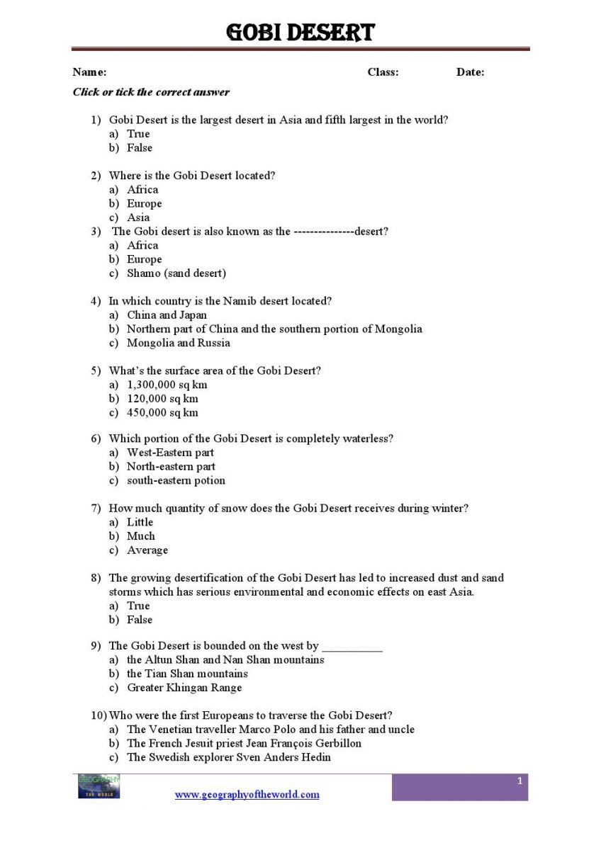 High School Geography Worksheets