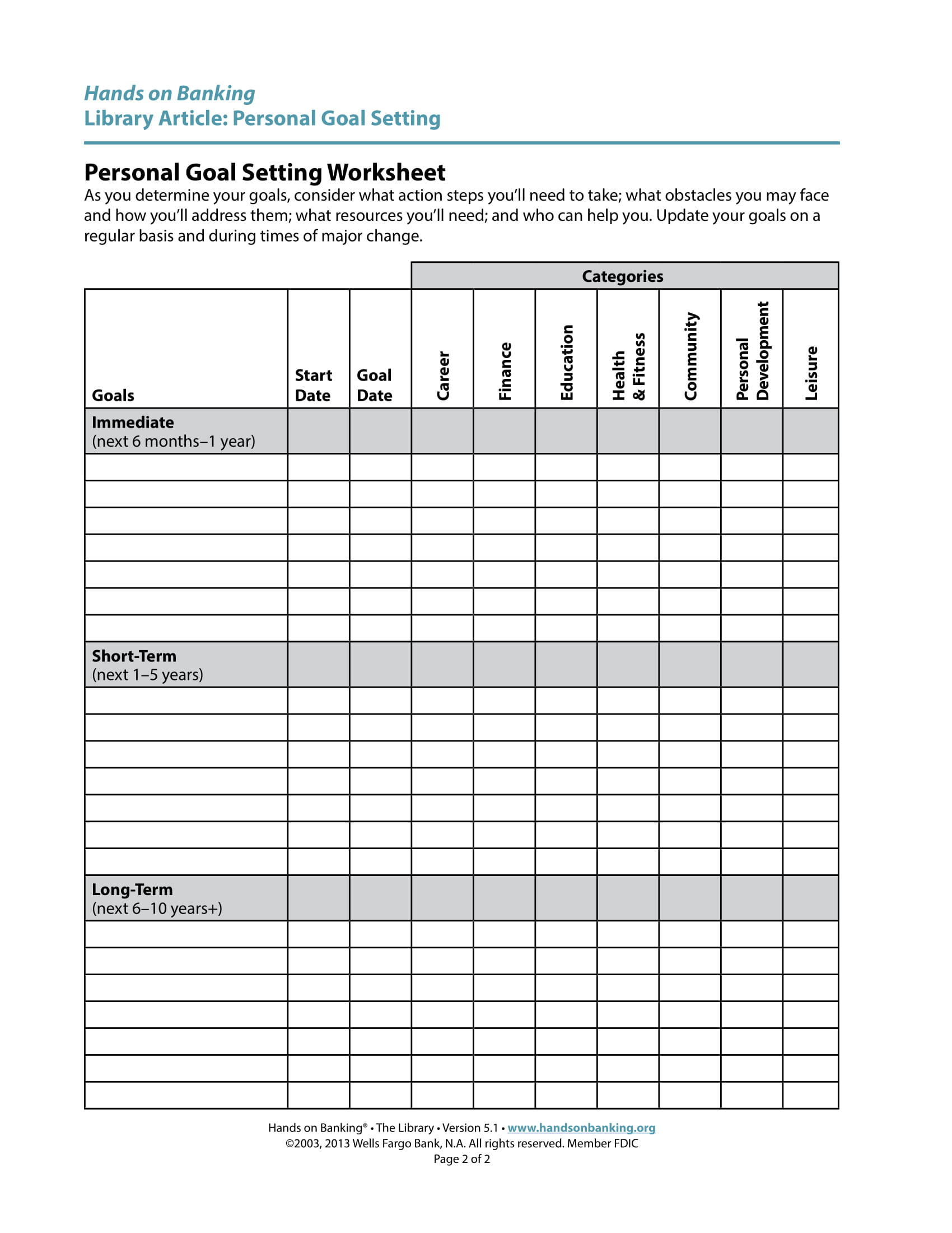 High School Goal Setting Worksheet