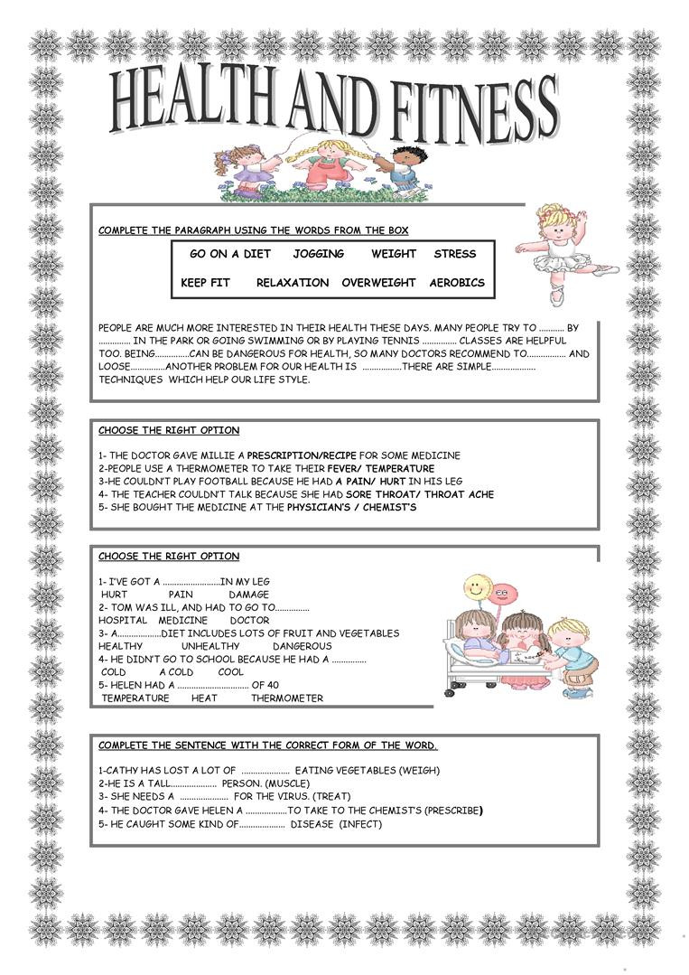HEALTH AND FITNESS English ESL Worksheets for distance