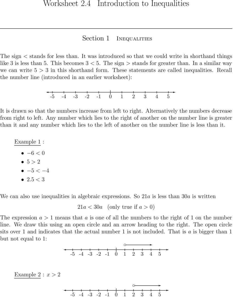 Inequality Number Line Worksheet