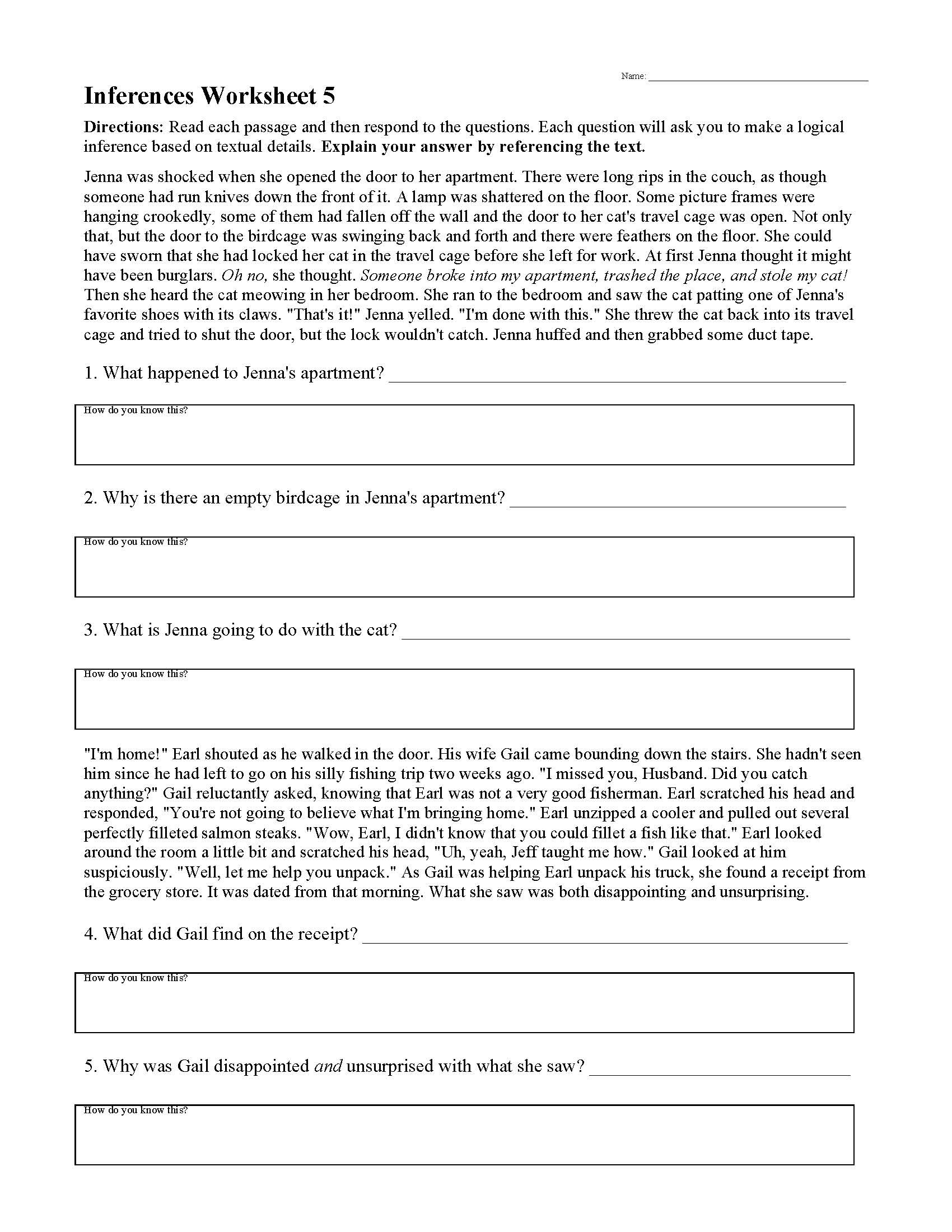 Inference Worksheets High School Pdf