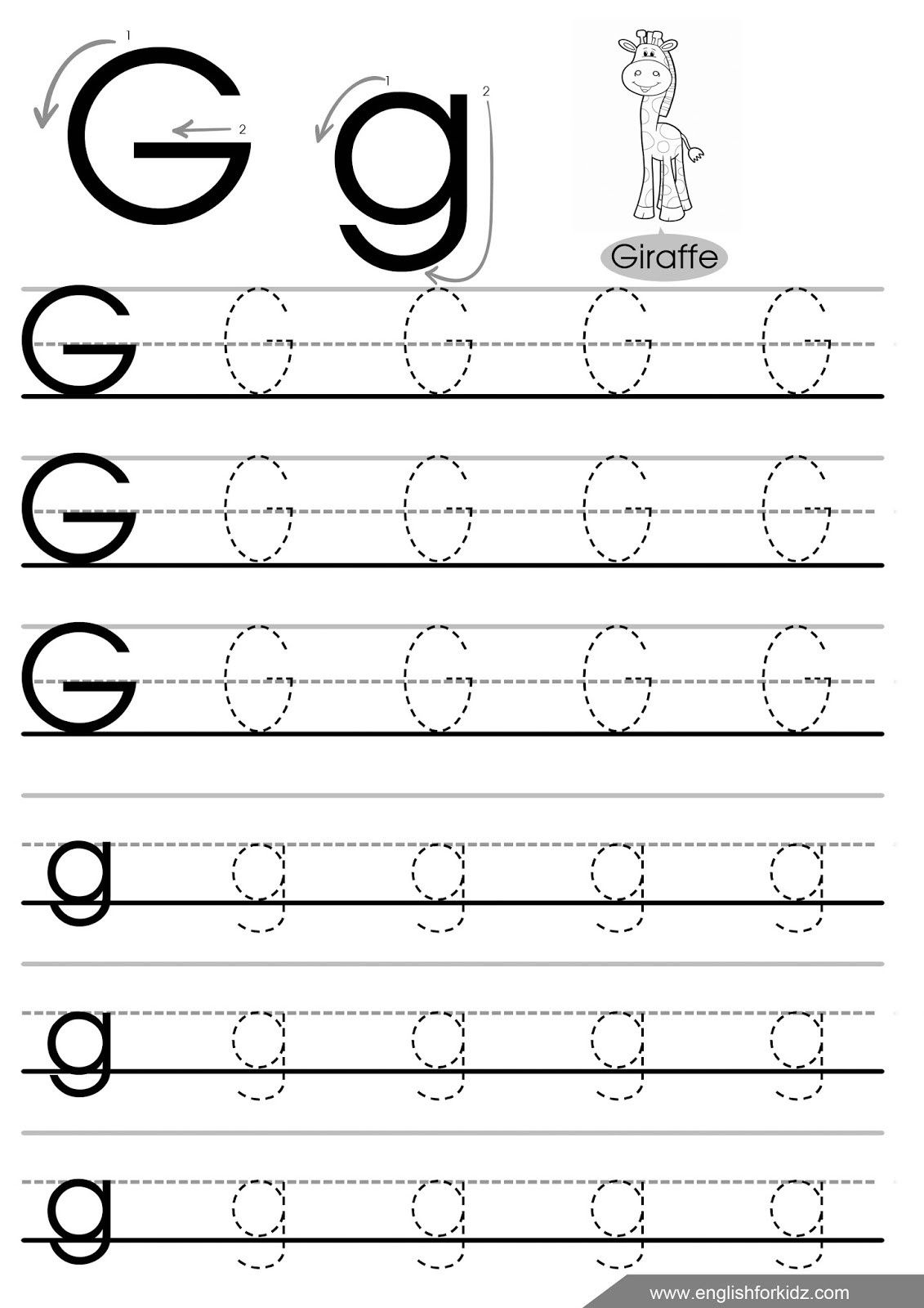 Letter G Worksheets Preschool