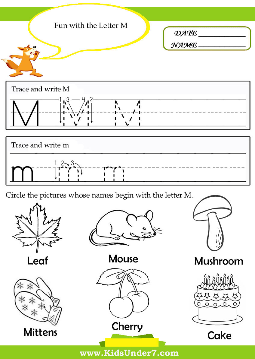 Letter M Worksheets Preschool