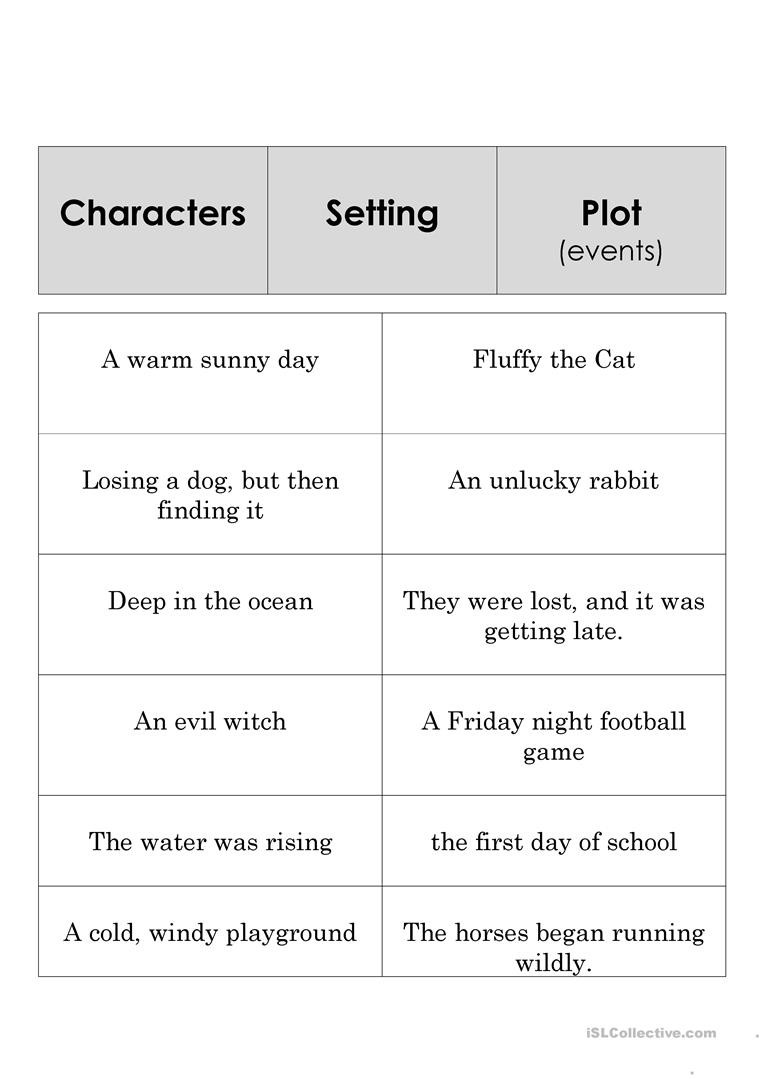 Literary Elements Worksheet High School