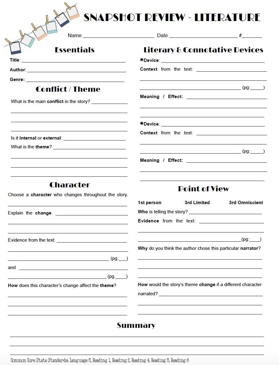 Review literature in a snap with this one page worksheet