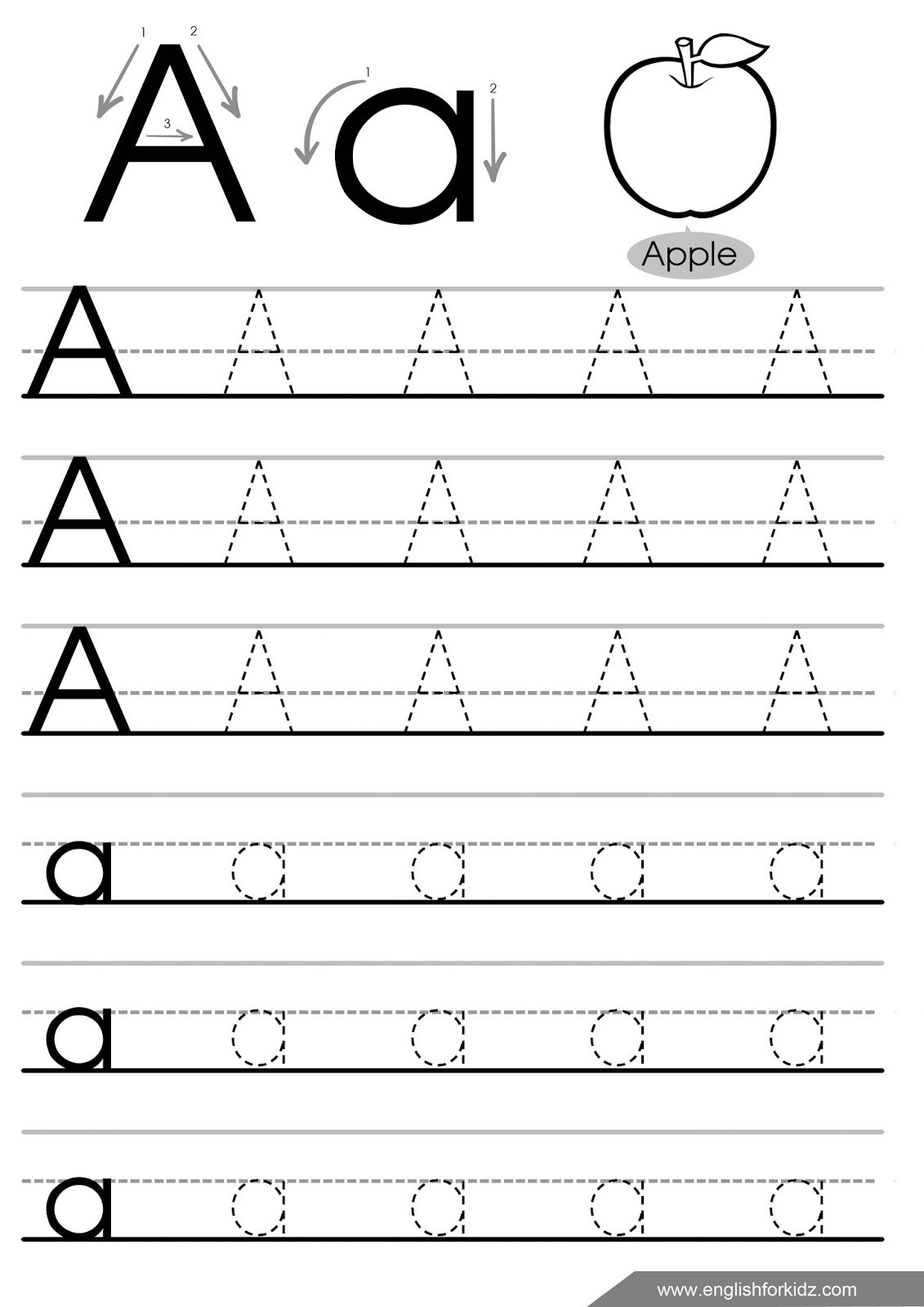 Lowercase Letter Tracing Worksheet