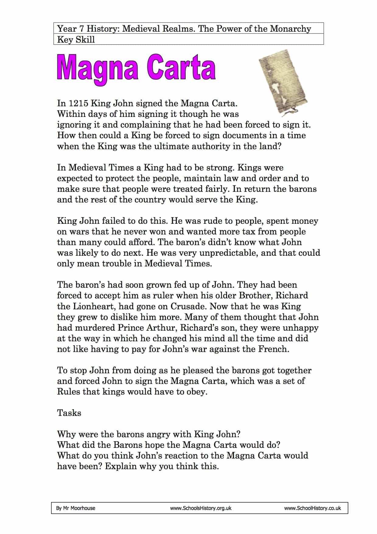 The signing of the Magna Carta by King John Year 7 Worksheet