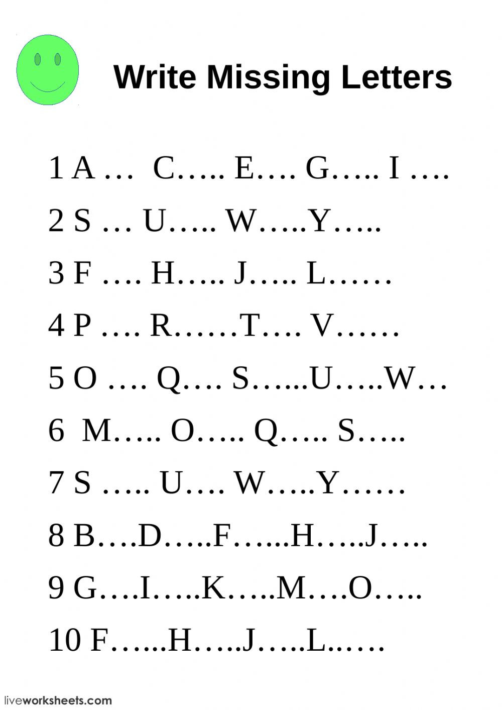 Write missing letters Interactive worksheet