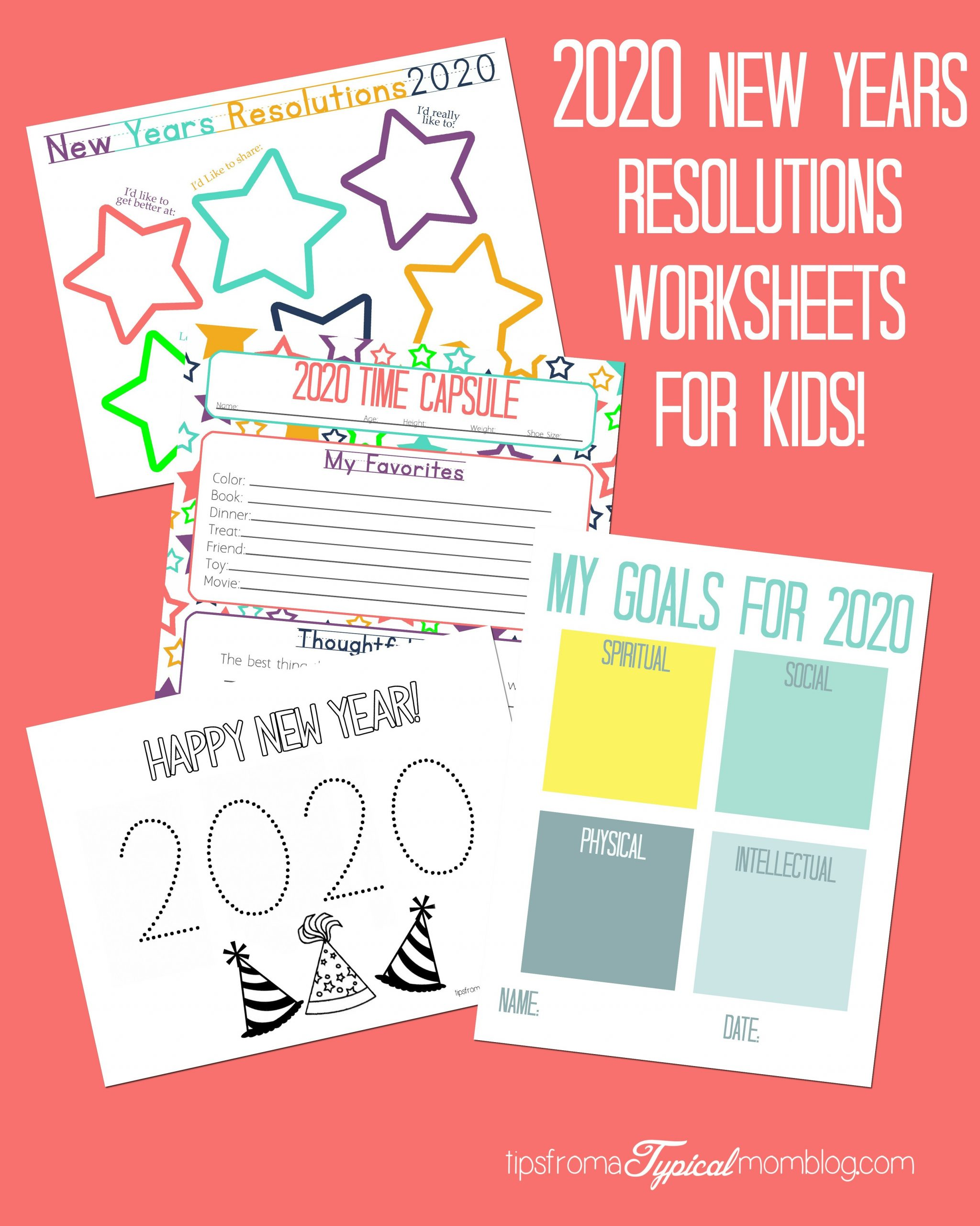 New Year Resolutions Printable Worksheets