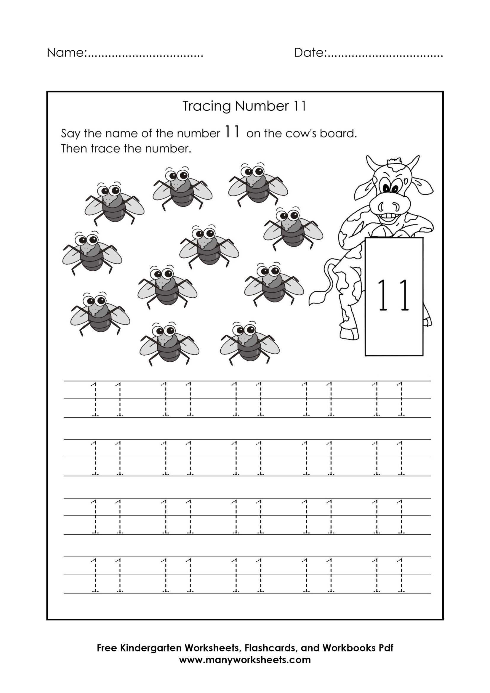 Number 11 Tracing Worksheet