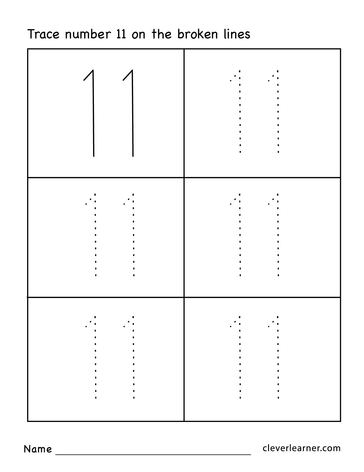 Number eleven writing counting and identification printable