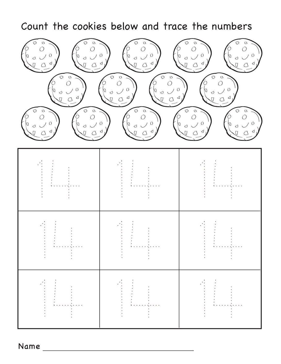 Number 14 Worksheet Preschool