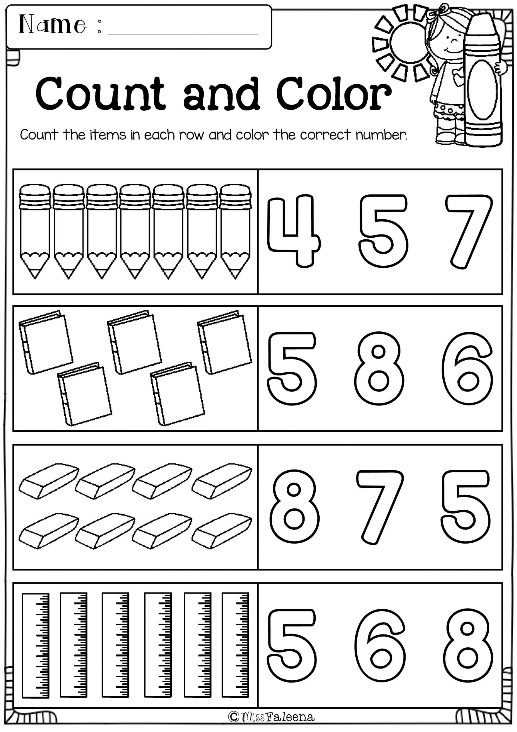 Number 18 Worksheets for Preschool
