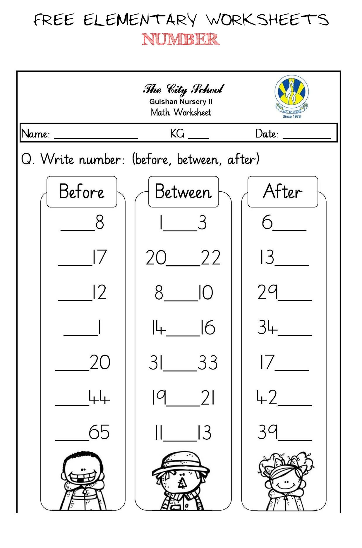 Number before and after Worksheets
