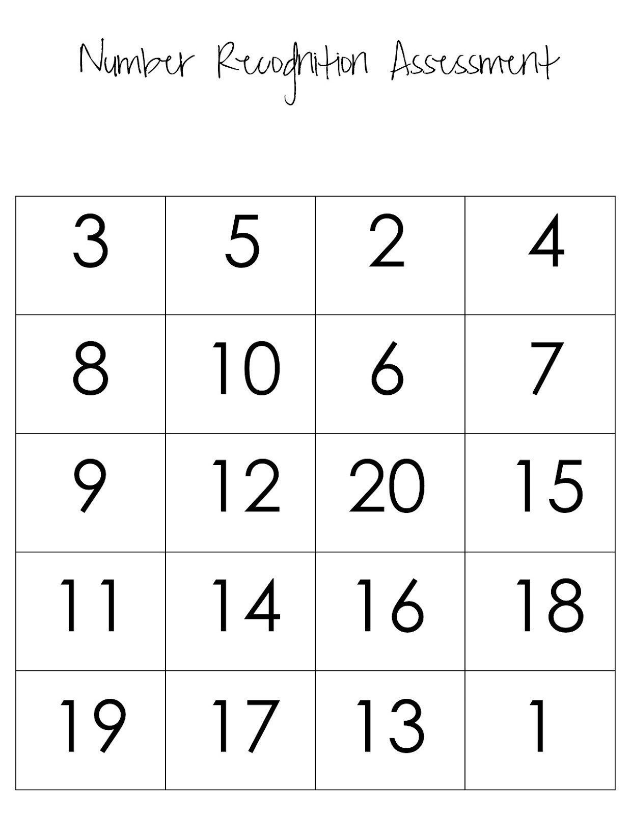 Free Number Recognition Worksheets Math Free
