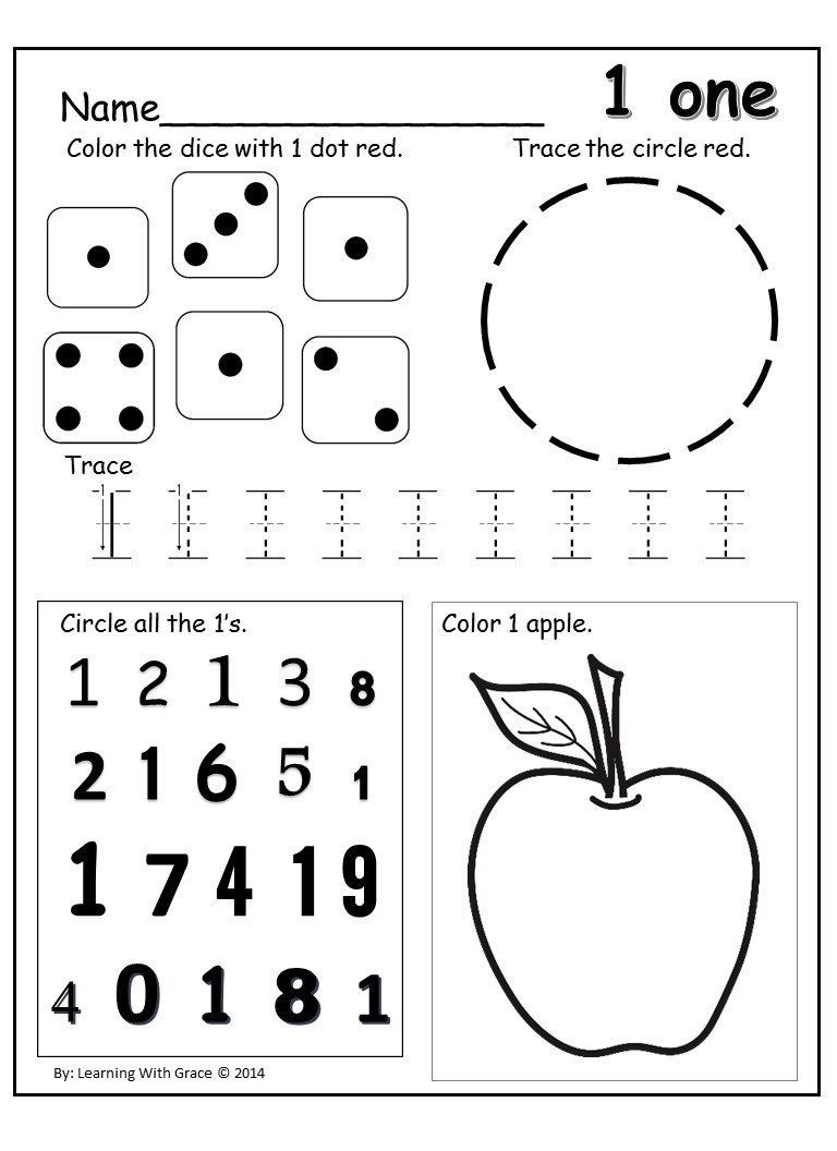 Number Review Worksheets for Preschool